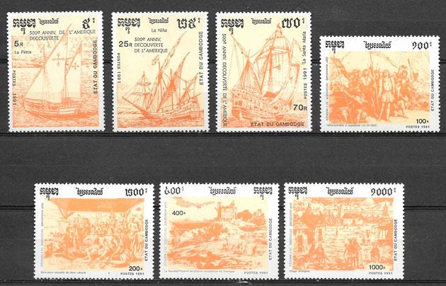 sellos personalidad Camboya 1991