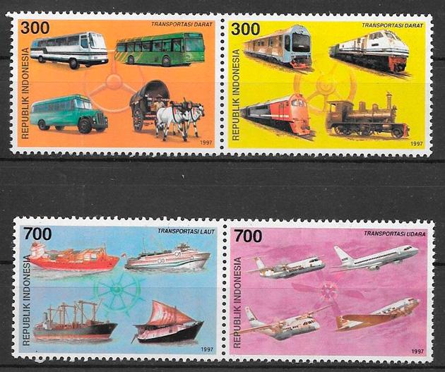 colección sellos transporte Indonesia 1997