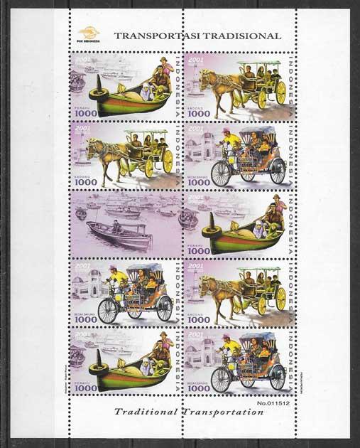 Colección sellos transporte Indonesia 2001
