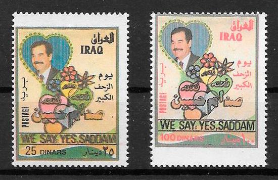 filatelia colección personalidades Iraq 1997