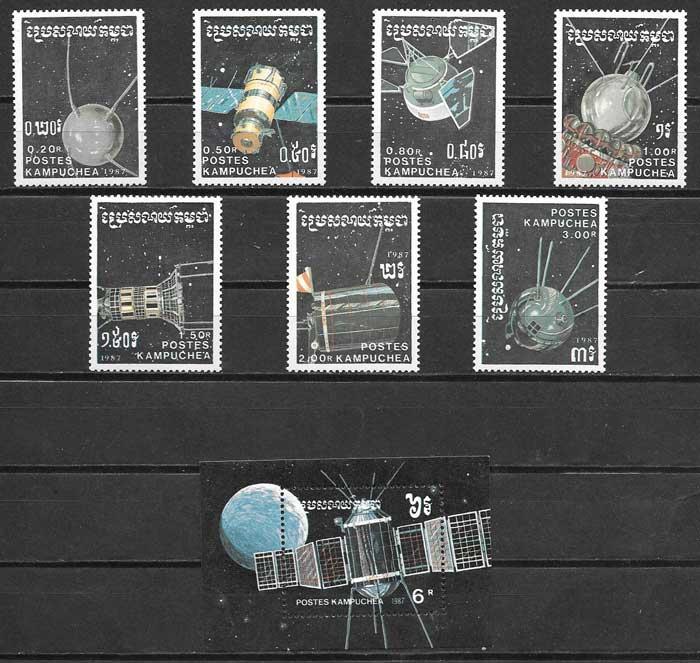 sellos Kampuchea 1987 transporte
