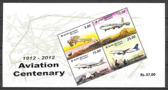 colección sellos transporte Sri Lanka 2012