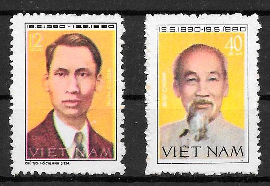 filatelia colección personalidad Viet Nam 1980