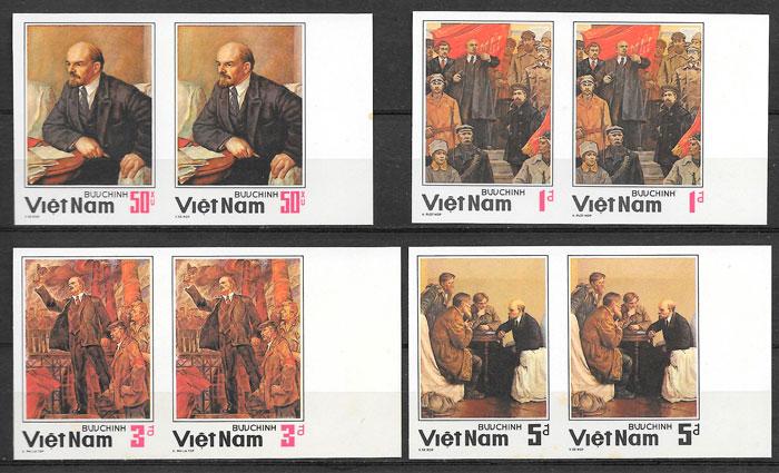 colección sellos personajes Viet Nam 1984