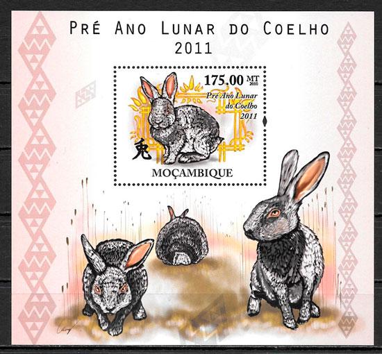 filatelia colección año lunar Mozambique 2010