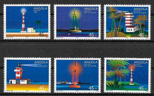 filatelia colección faros Angola 2002