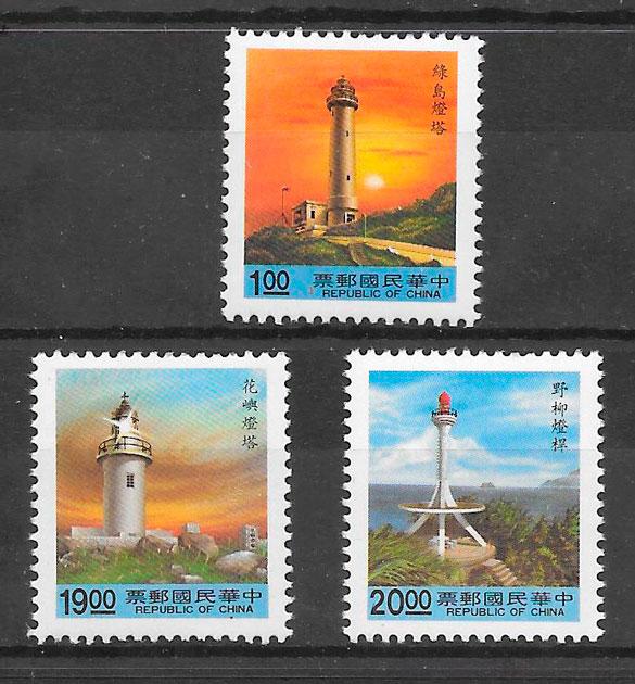 colección sellos faros Formosa 1992