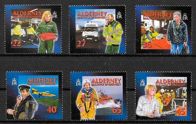 colección sellos temas varios Alderney 2002