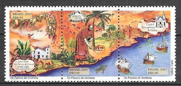 filatelia colección temas varios Brasil 2007
