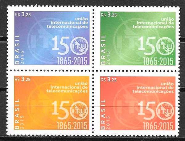 colección sellos temas varios Brasil 2015