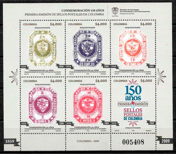 colección sellos temas varios Colombia 2009