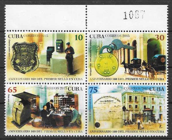 colección sellos Aniversario primer sello Cuba 2015