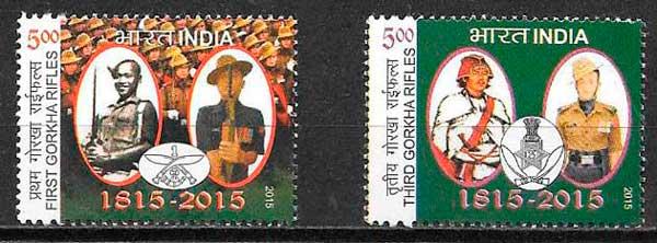 filatelia colección temas varios india 2015