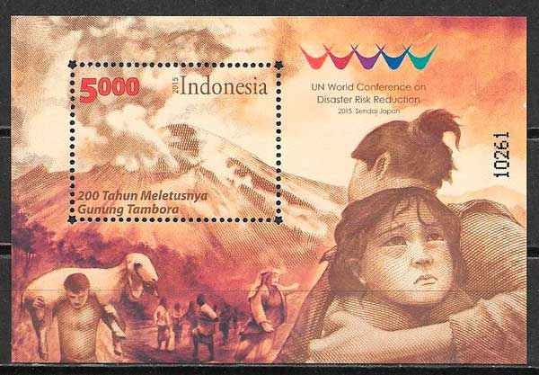 colección sellos temas varios Indonesia 2015