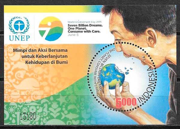 colección sellos varios temas Indonesia