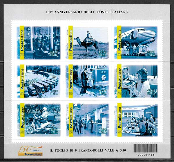 colección sellos temas varios Italia 2012