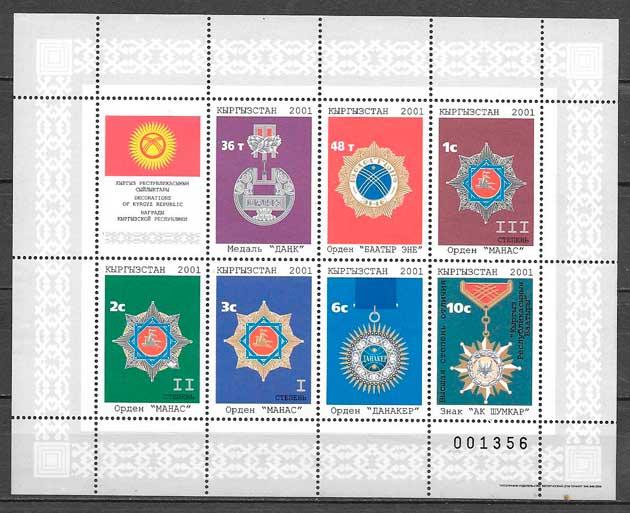 colección sellos temas varios Kirgyzstan 2001