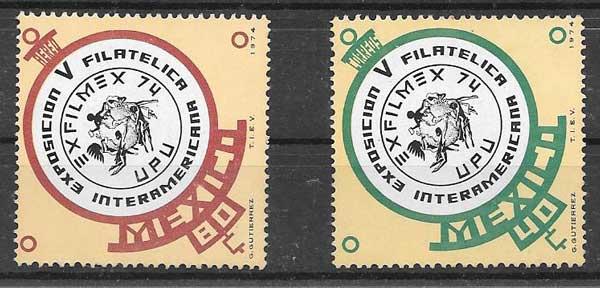sellos México Expo filatélica 1974