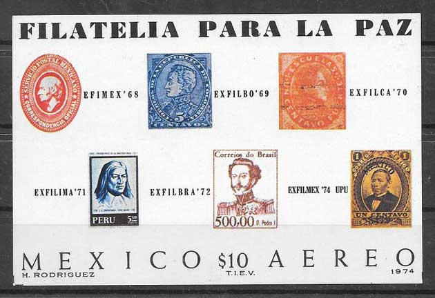 sello Expo Filatelica Mexico 1974