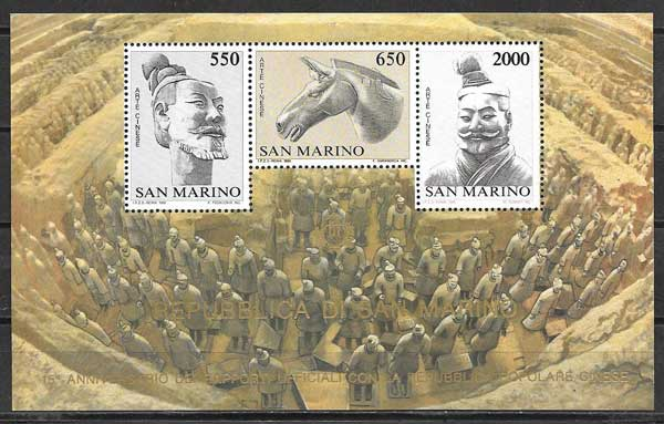 Filatelia Relaciones diplomáticas San Marino 1986
