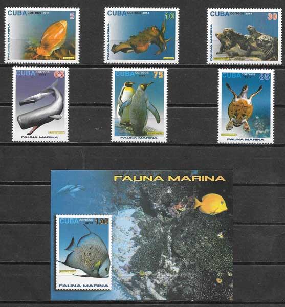 colección sellos fauna Cuba 2015