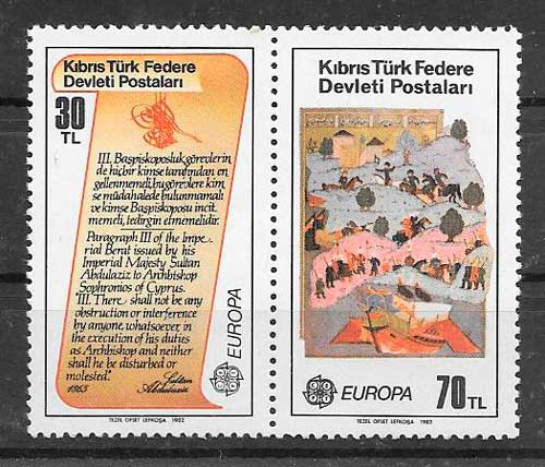 filatelia colección tema Europa Chipre Turco 1982