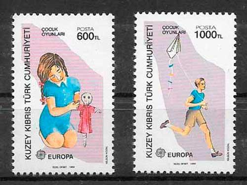 sellos tema Europa Chipre Turco 1989