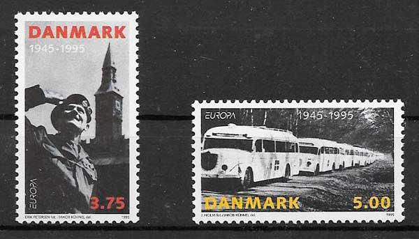 sellos tema Europa Dinamarca 1995
