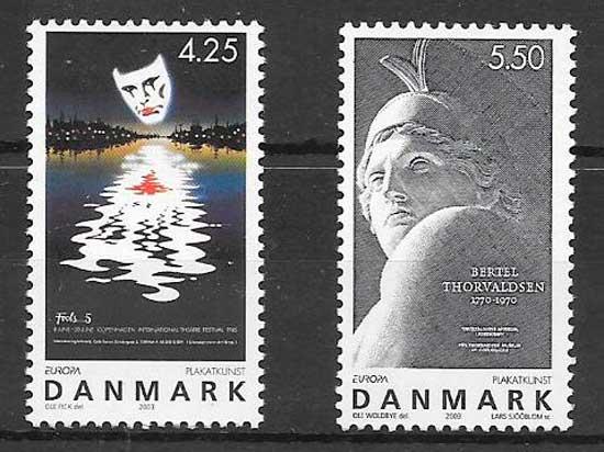 sellos colección tema Europa Dinamarca 2003