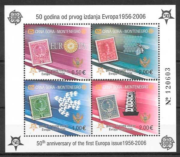 filatelia tema Europa Montenegro 2006