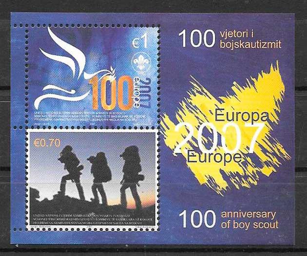 colección sellos tema Europa Kosovo 2007