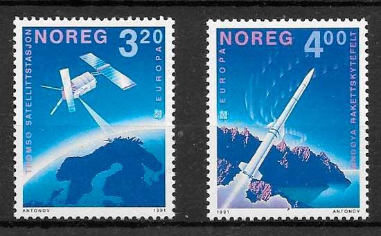 filatelia colección Tema Europa Noruega 1991