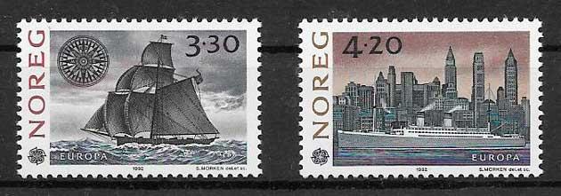 colección sellos tema Europa Noruega 1992