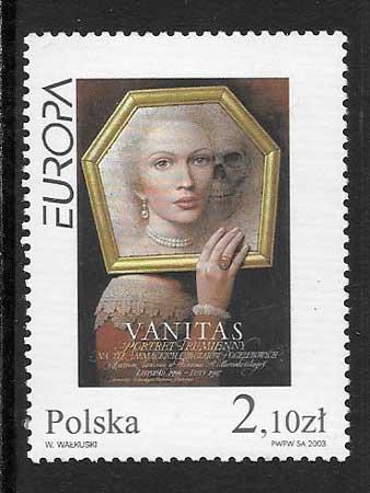 sellos tema Europa Polonia 2003