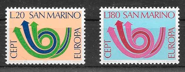 filatelia tema Europa San Marino 1973