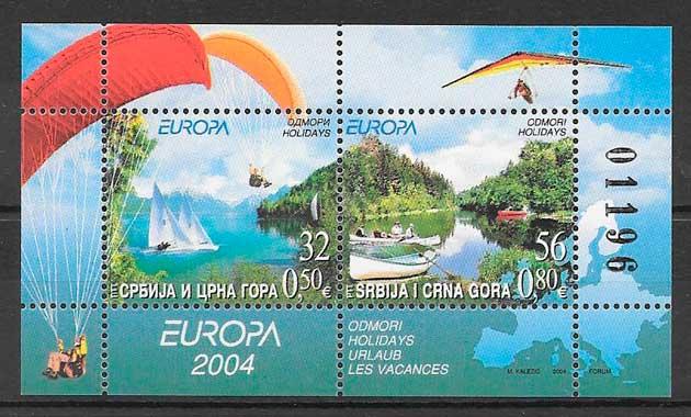 filatelia colección tema Europa Serbia y Montenegro 2004