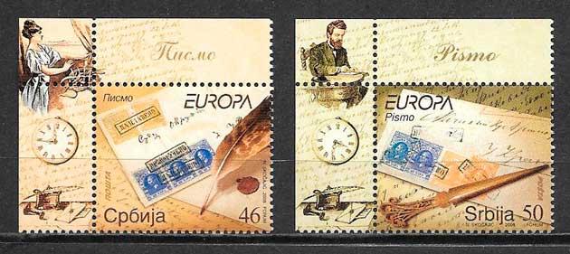 filatelia colección tema Europa Serbia 2008