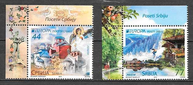 colección sellos tema Europa Serbia 2012