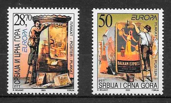sellos tema Europa Serbia y Montenegro 2000