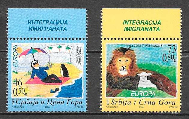colección sellos tema Europa Serbia y Montenegro 2006