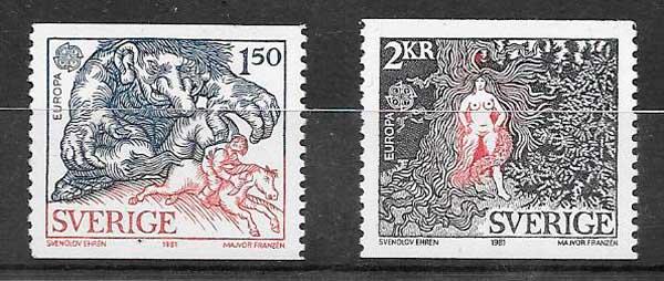 sellos tema Europa Suecia 1981