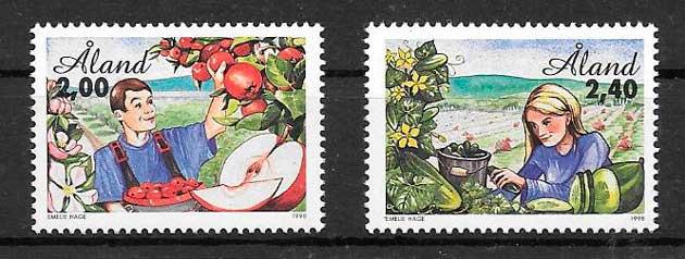 colección sellos frutas y verduras Aland 1998