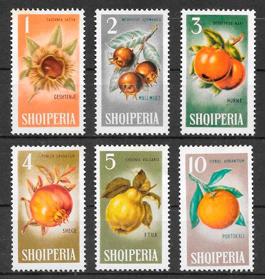 sellos frutas Albania 1965