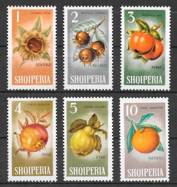 filatelia frutas Albania 1965