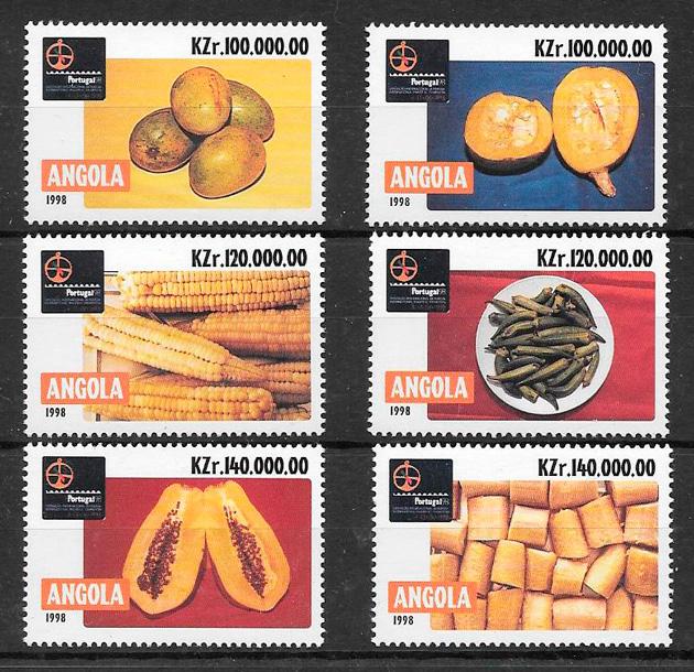 sellos frutas Angola 1998