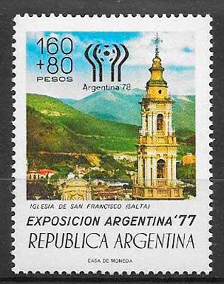 filatelia coleccion Argentina futbol 1977