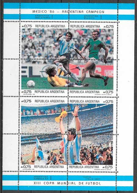 colección sellos futbol Argentina 1986