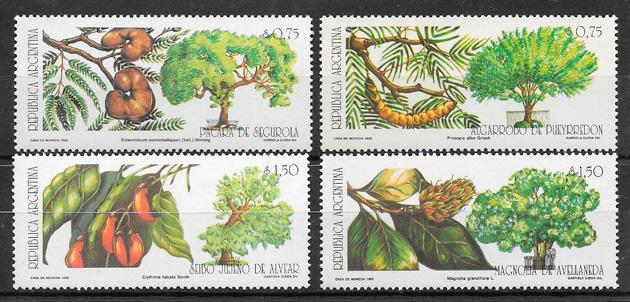 filatelia colección frutas Argentina 1993