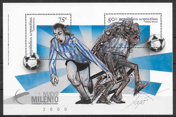 filatelia colección futbol Argentina 1999