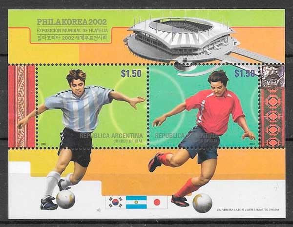 colección sellos futbol Argentina 2002